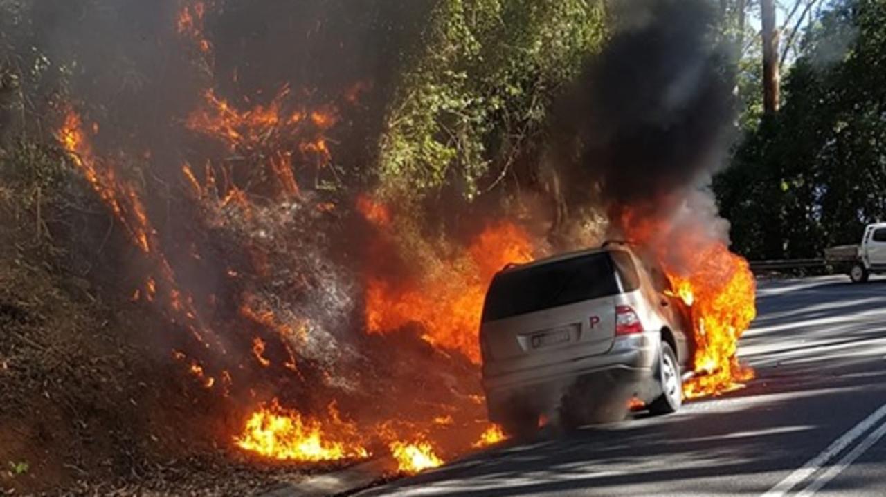 Car bursts into flames on Waterfall Way, causes bushfire