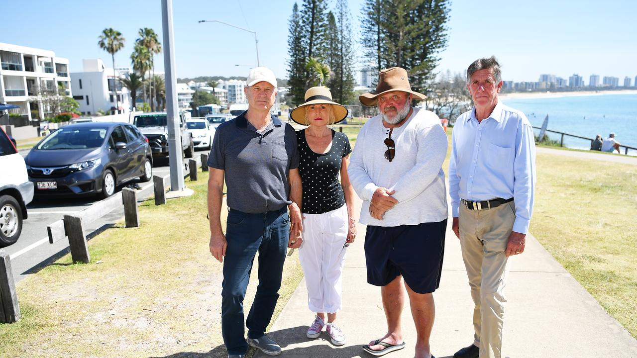Greg Young, Michelle Young, Clarkie Clarke and Kev Annetts fear the loss of car parks because of a new cycleway. Picture: Patrick Woods