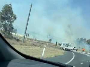 Bushfire crosses road near Stanthorpe McDonalds