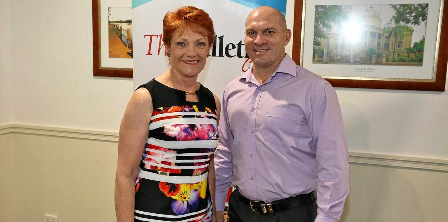 FULL SUPPORT: One Nation Party leader Pauline Hanson is supportive of Wade Rothery's efforts to be pre-selected to contest the seat of Keppel in the next State Election.