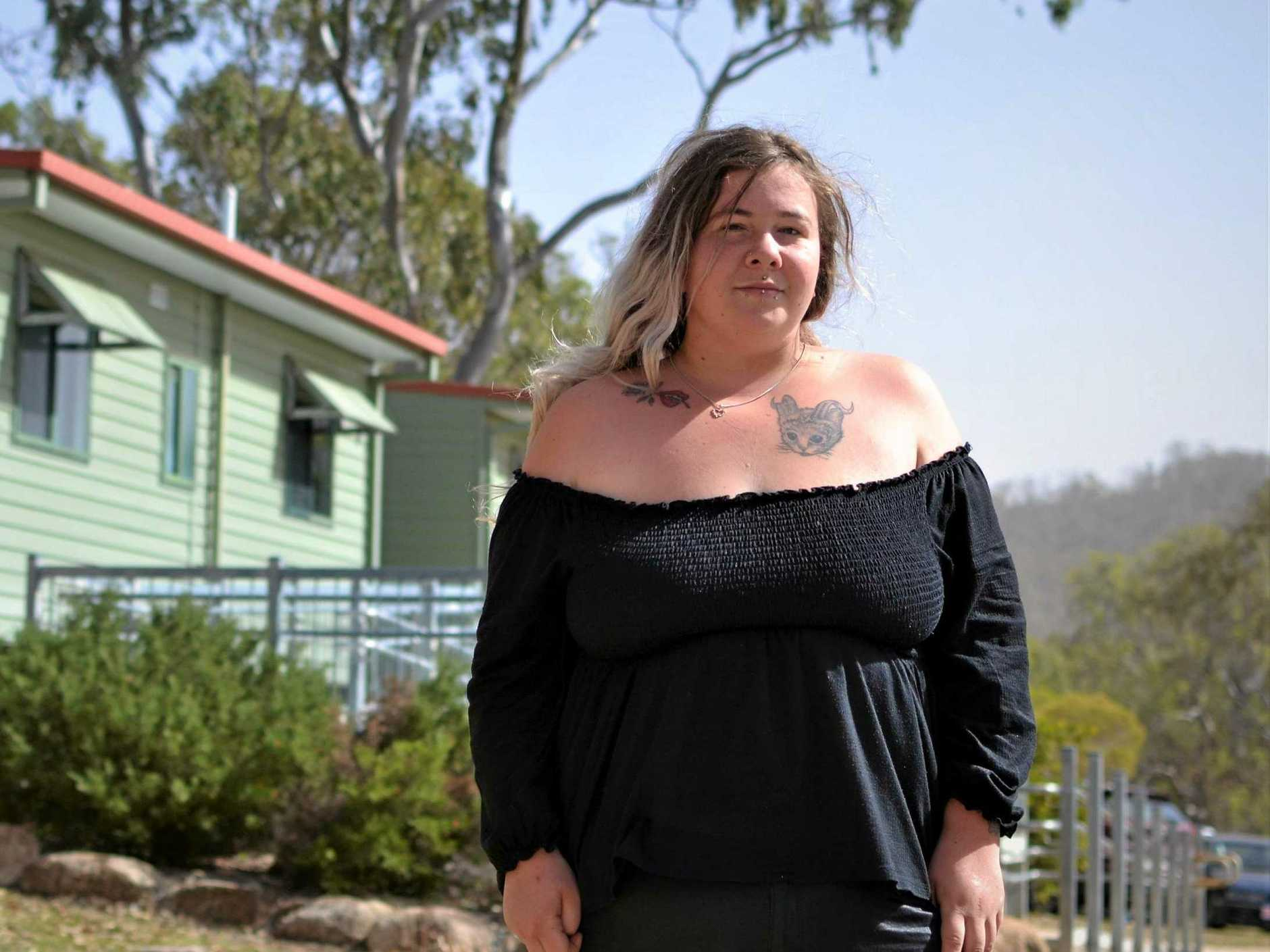 SAFE AT LAST: Chantelle Peterson evacuated from Stanthorpe after she saw flames as high as buildings.