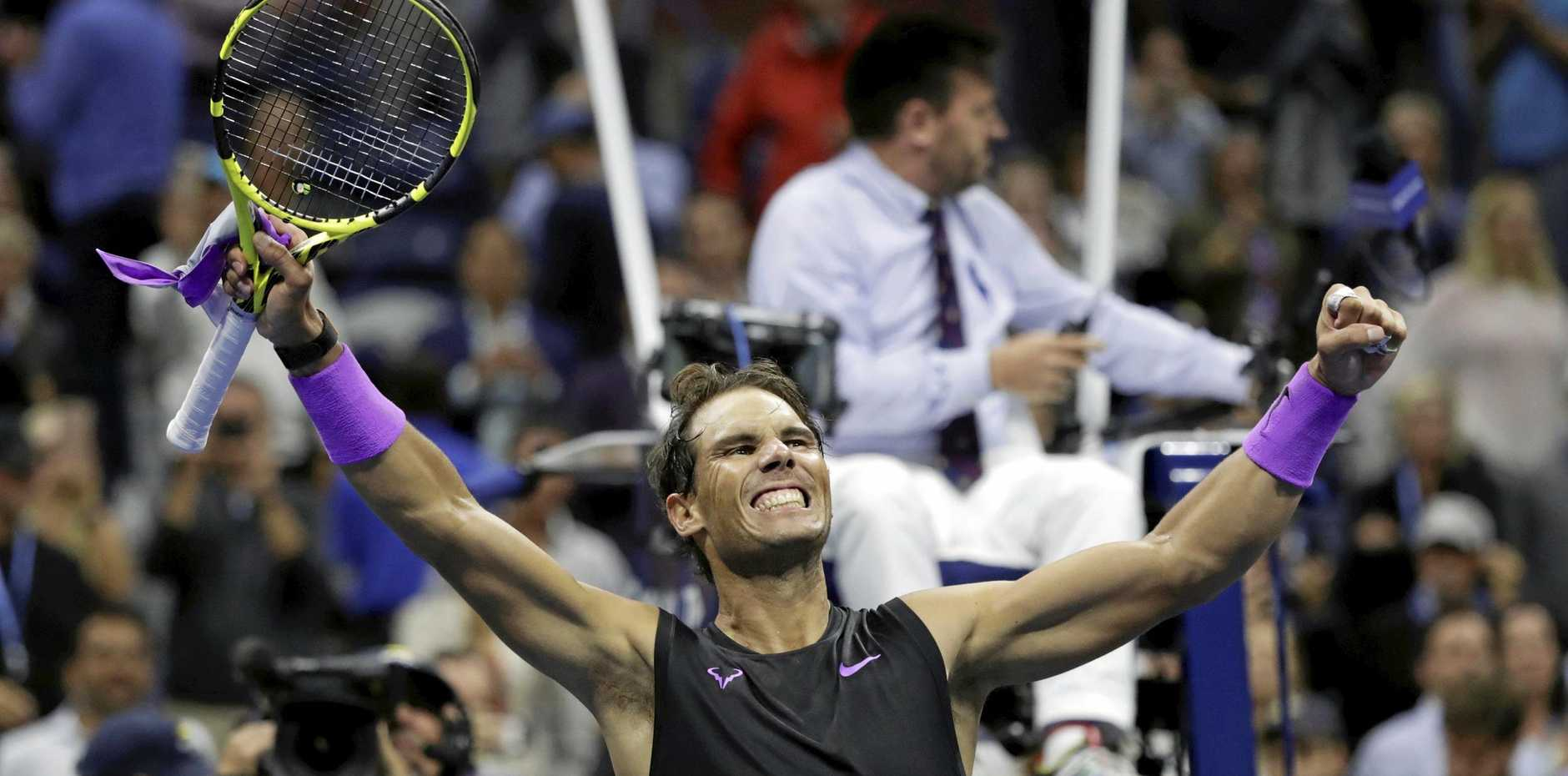 Spain's Rafael Nadal shows his joy after beating Italy's Matteo Berrettini in their US Open semi-final. Picture: Adam Hunger/AP