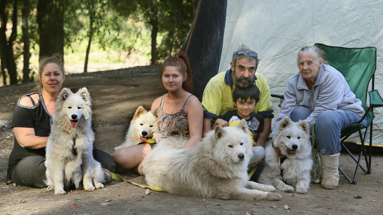 Kylie Henderson, Shania Grigson, Robert Lera, Jayden Durie and Sandra Henderson were all evacuated from their Beechmont property with their samoyed dogs to the Canungra Showgrounds. Picture: AAP Image/Richard Waugh