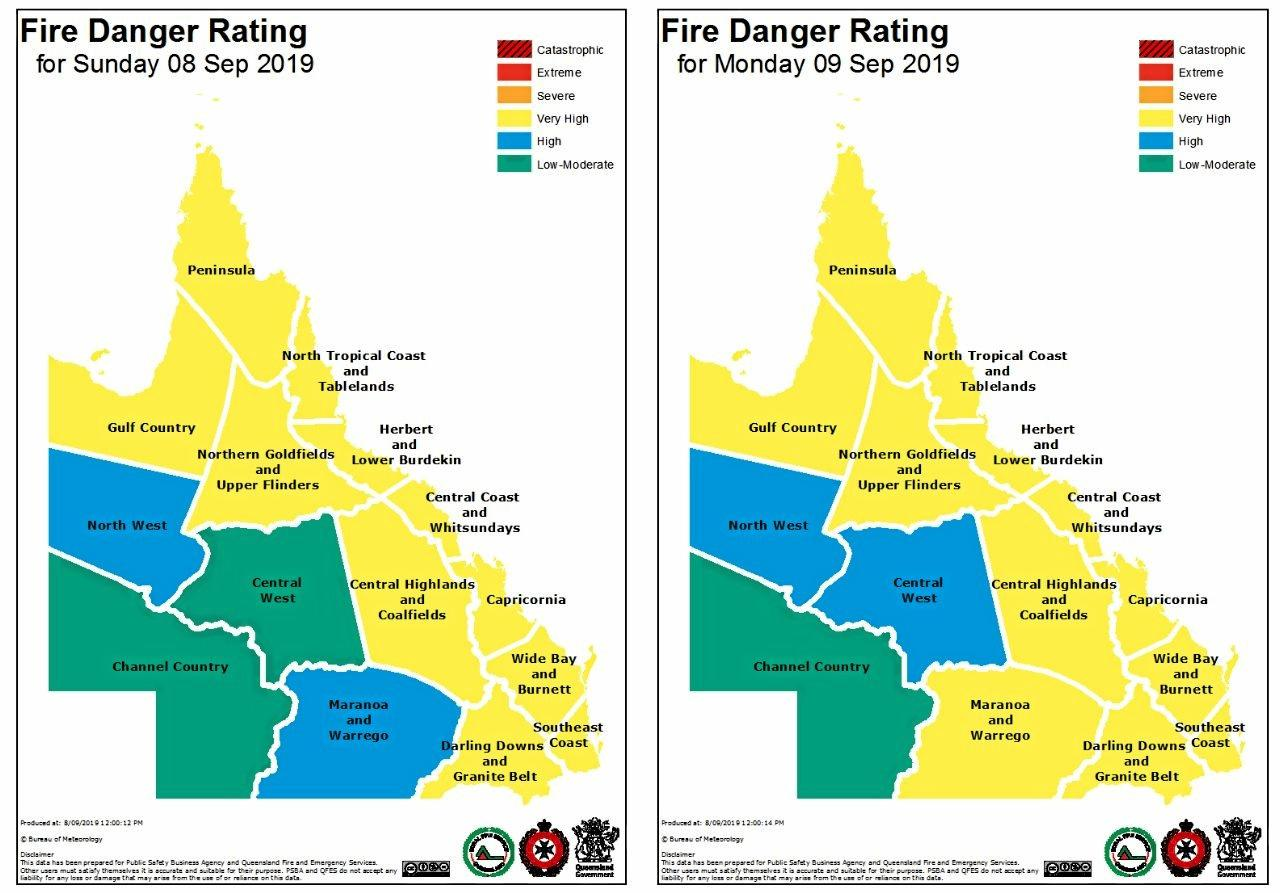 FIRE DANGER: The Bureau of Meteorology Daily Fire Danger Rating predicts a very high fire threat for Capricornia on Sunday and Monday.