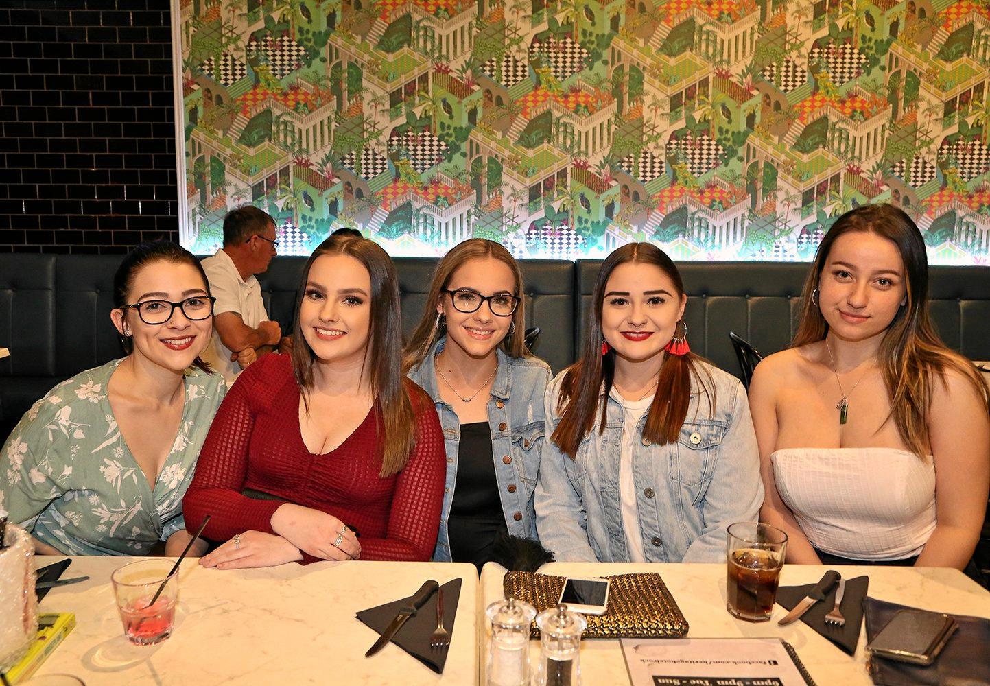 Brittany Barlow, Jocelyn Fletcher, Tia Richardson, Maddison Barlow and Issy Woo at The Heritage Hotel.