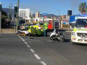 UPDATE: Three in hospital after motorbike and car collide