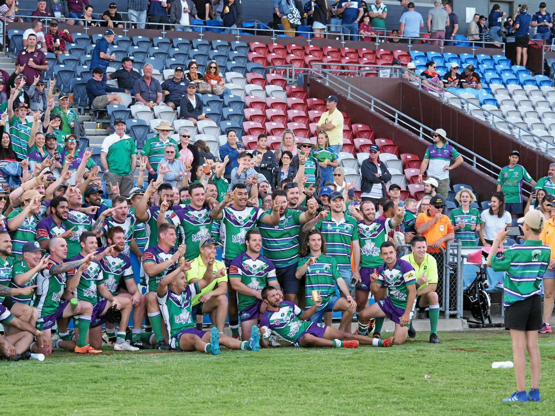 WINNERS ARE GRINNERS: Whitsunday Brahmans celebrate becoming their Rugby League Mackay & District A-Grade premiership after defeating Wests Tigers 38-4 at BB Print Stadium.