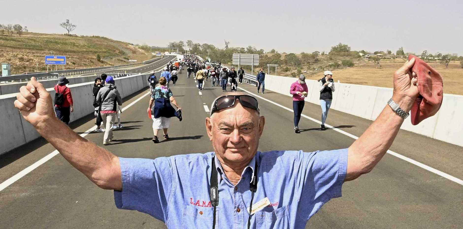 Doug Wessling had open heart surgery a couple of years ago and was proud to complete the walk on the Toowoomba Bypass.