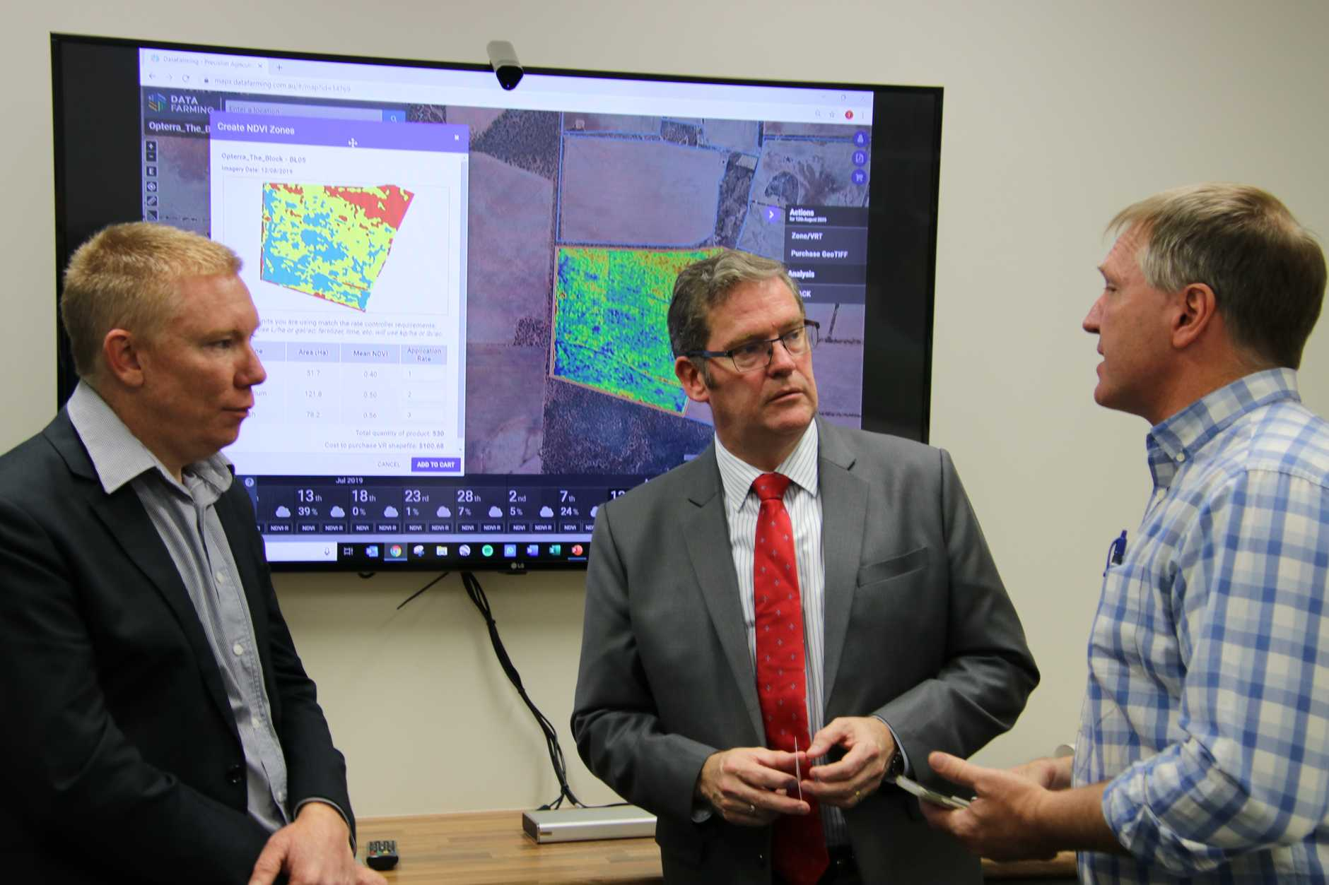 Tim Neale from DataFarming, John McVeigh and Phil Tickle from CiboLabs discussing the importance of satellite technology in supporting farming and agriculture across Australia.