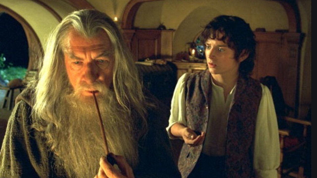 Sir Ian McKellen as Gandalf (alongside Elijah Wood's Frodo) in The Fellowship of the Ring.