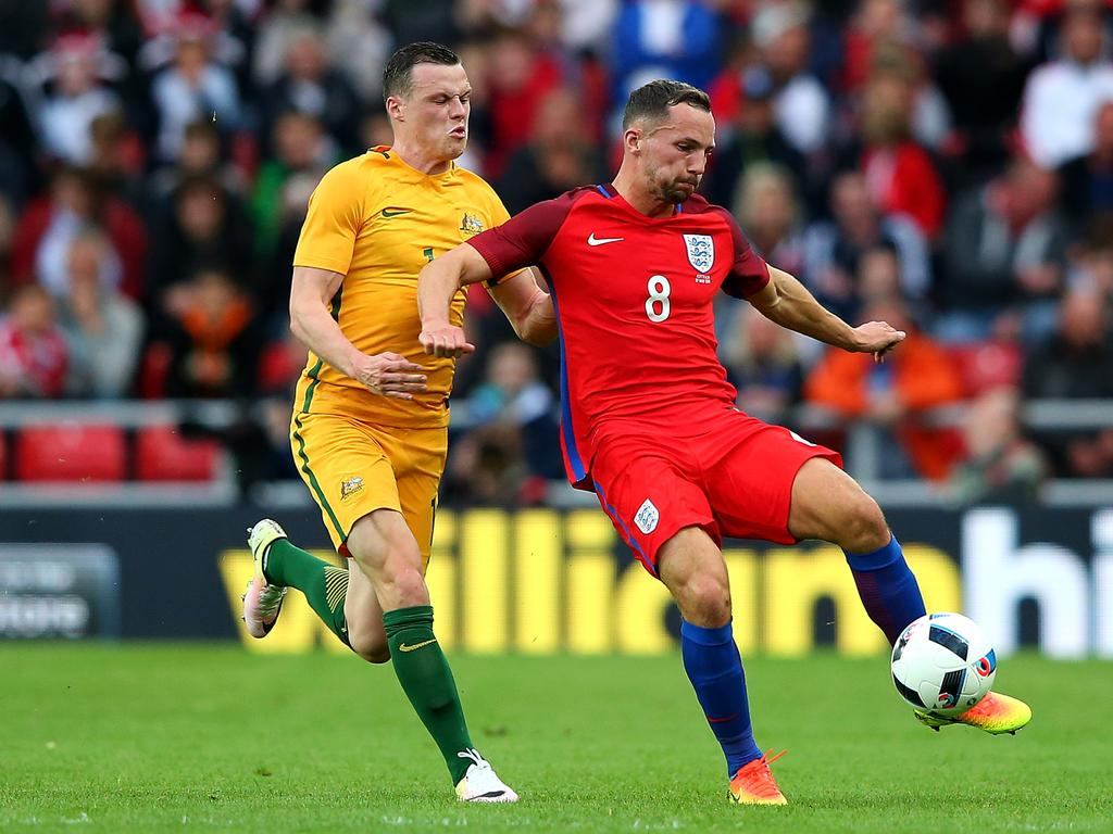 Drinkwater in action during a friendly against Australia.