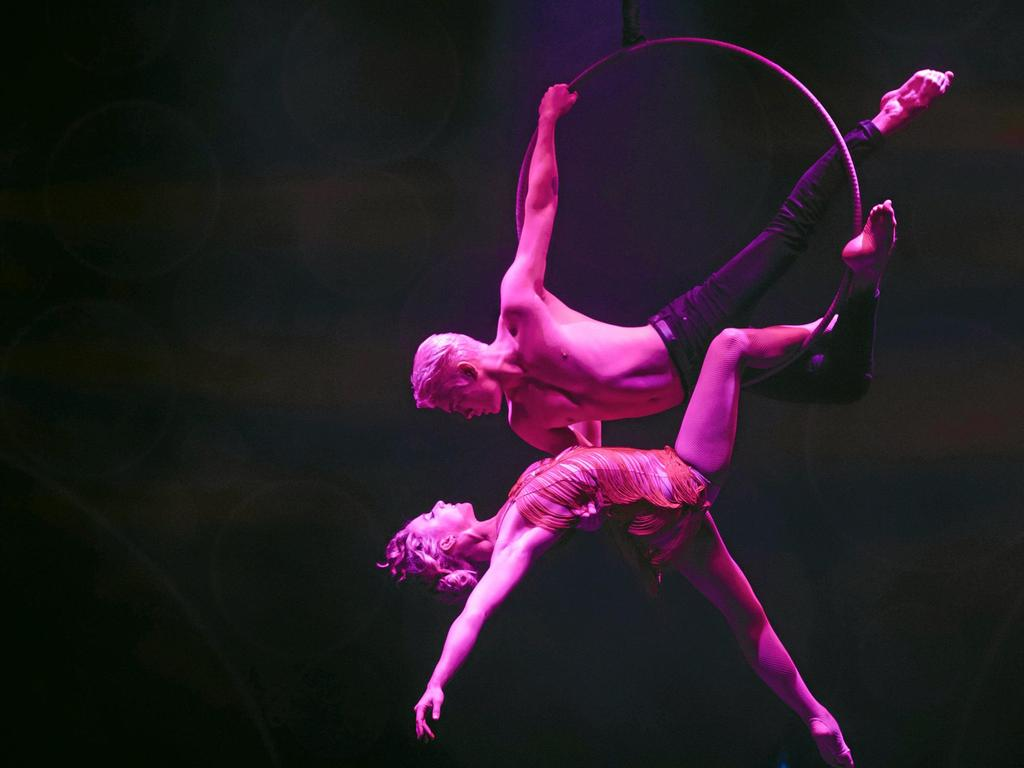 Aerial hoop duo Caitlin Tomson-Moylan and Spencer Craig star in Blanc de Blanc Encore, the new cabaret show playing at the Brisbane Festival. Picture: Daniel Boud