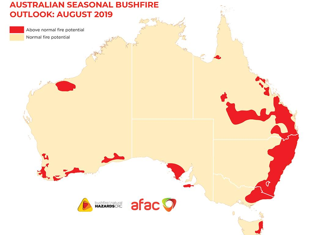 Australian Seasonal Bushfire Outlook map, August 2019. Courtesy Bushfire and Natural Hazards CRC.