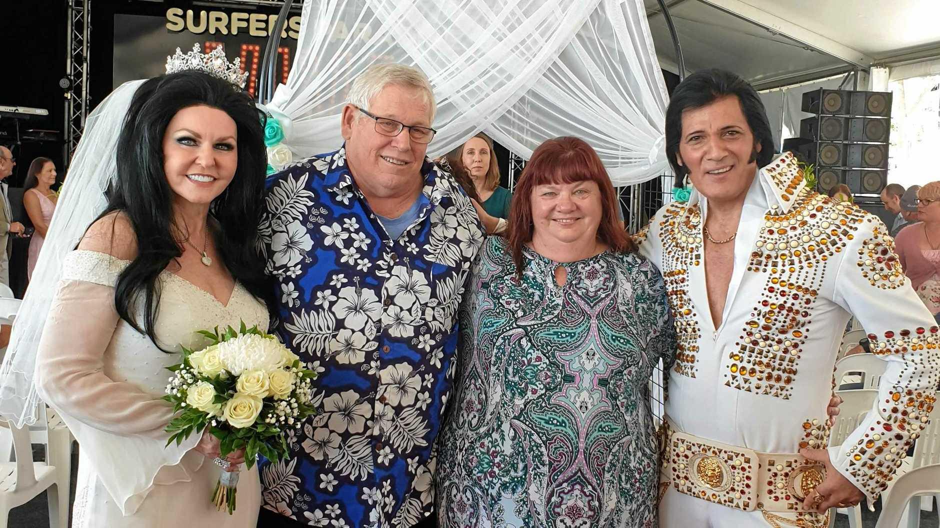 LOVE ME TENDER: Marriage celebrant Dean Vegas, aka Elvis (right) and