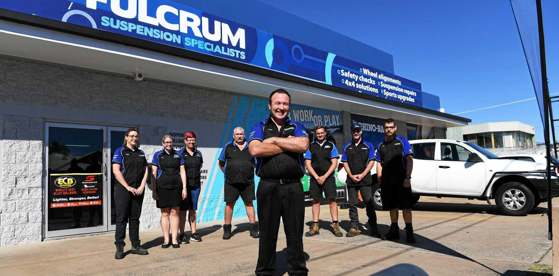 NEW ERA: Fulcrum Suspension Specialists Peter Robinson with staff members Karen Burns, Peta Walker, Shelly Farrow, Dave Williams, Matthew French, Jason Bean and Brad Chippendale and Peter Robinson.