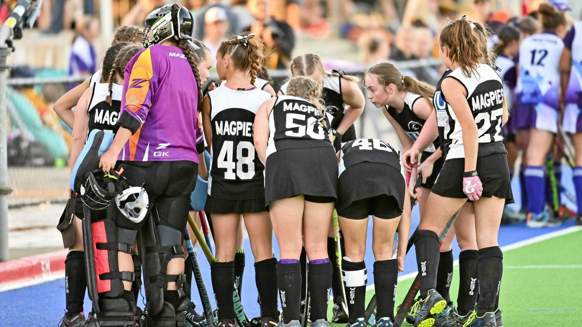 The Wests' C-Grade hockey team prepare for their grand final on Saturday. Wests survived a thriller to secure a second junior premiership for the club.