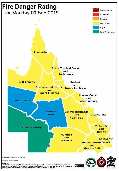 Bureau of Meteorology fire danger rating for Queensland today.