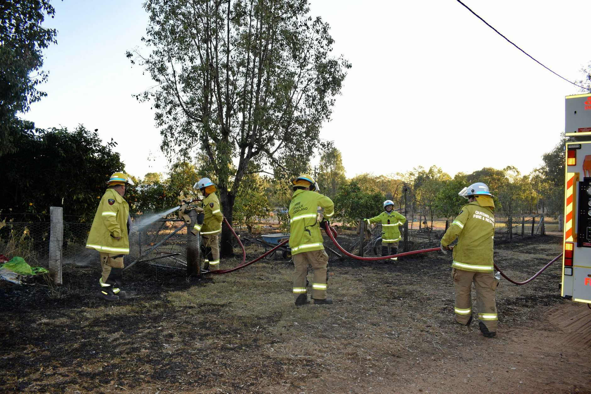 BACKYARD BLAZE: A backyard grass fire was ignited at a residence on Creek St just outside of Chinchilla last week after an elderly resident started the blaze from welding outside.