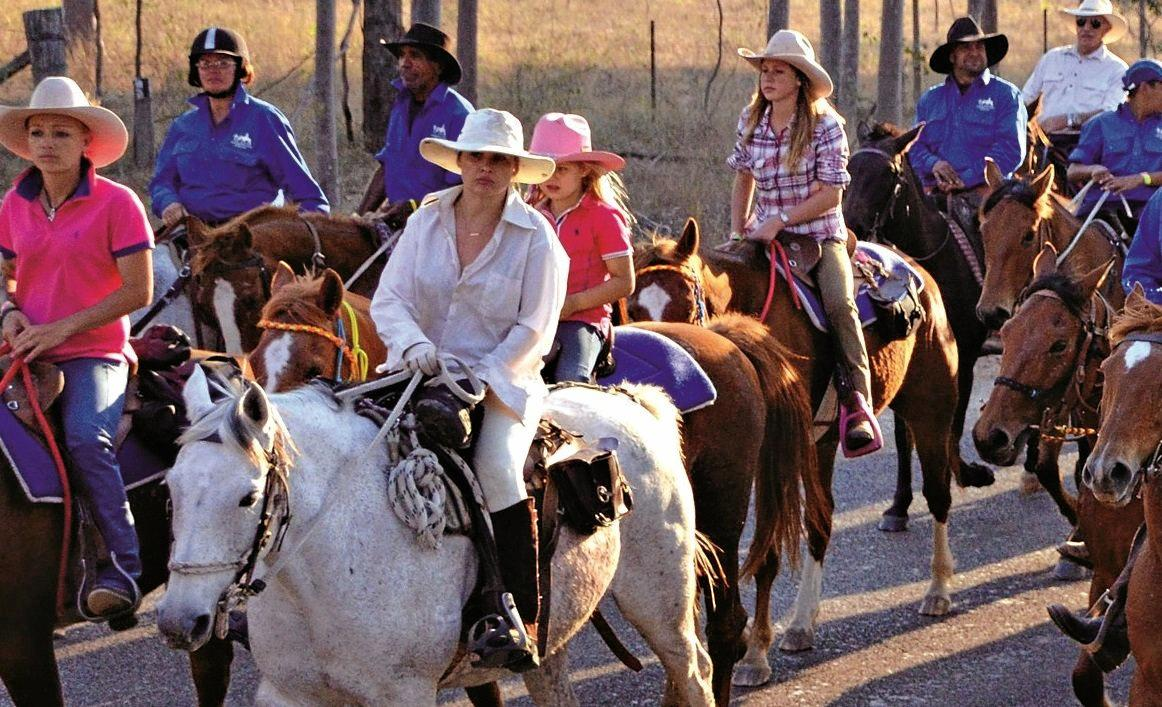 Riders take to the trail in the Kilkivan Great Horse Ride in earlier days.