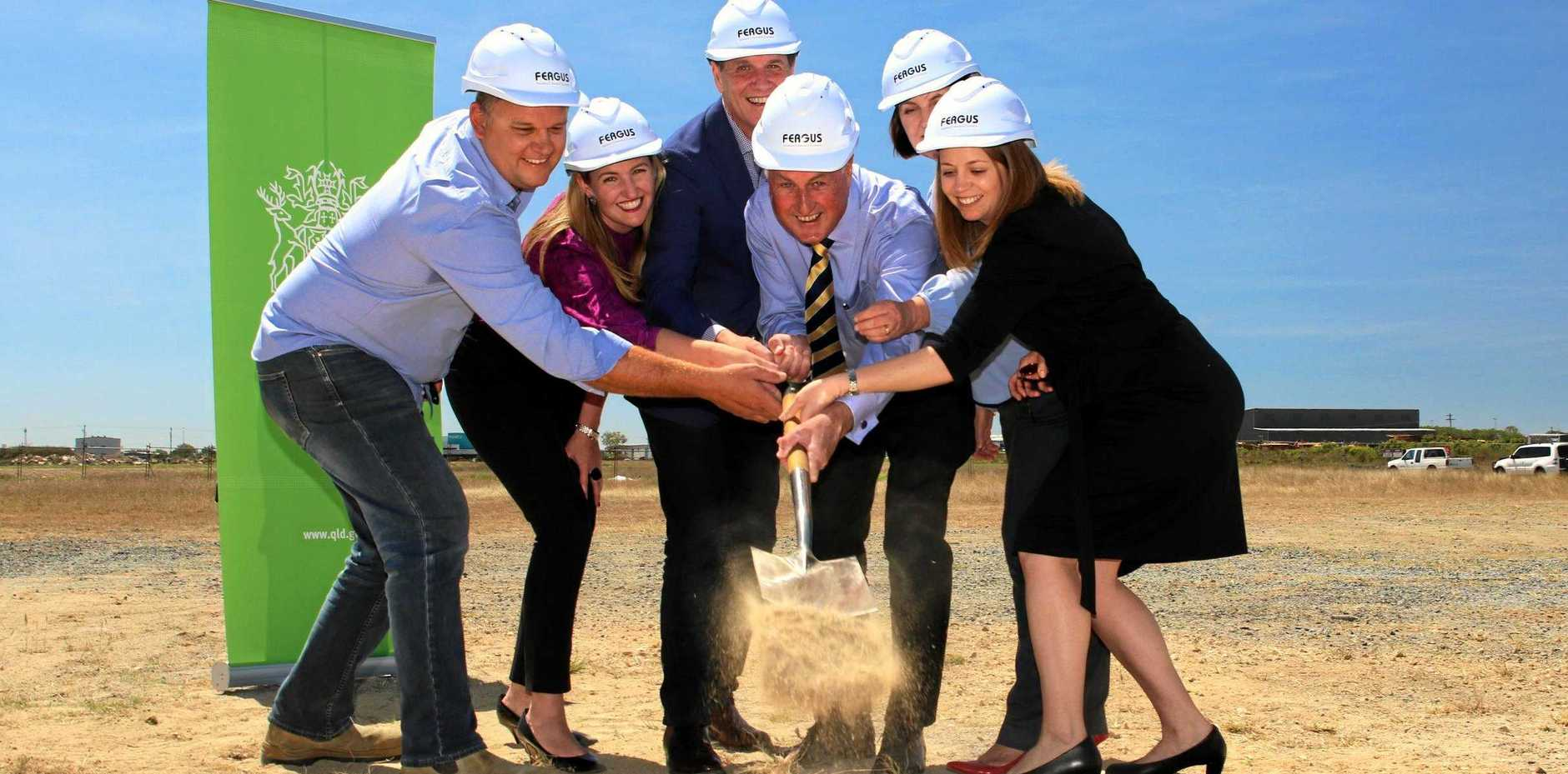 STARTING POINT: Turning the first sod for the Mackay Resource Centre of Excellence (from left) Fergus Builders construction manager Ben Hilder, Training and Skills Minister Shannon Fentiman, Mines Minister Anthony Lynham, Mayor Greg Williamson Mackay MP Julieanne Gilbert and Resource Industry Network general manager Adrienne Rourke.