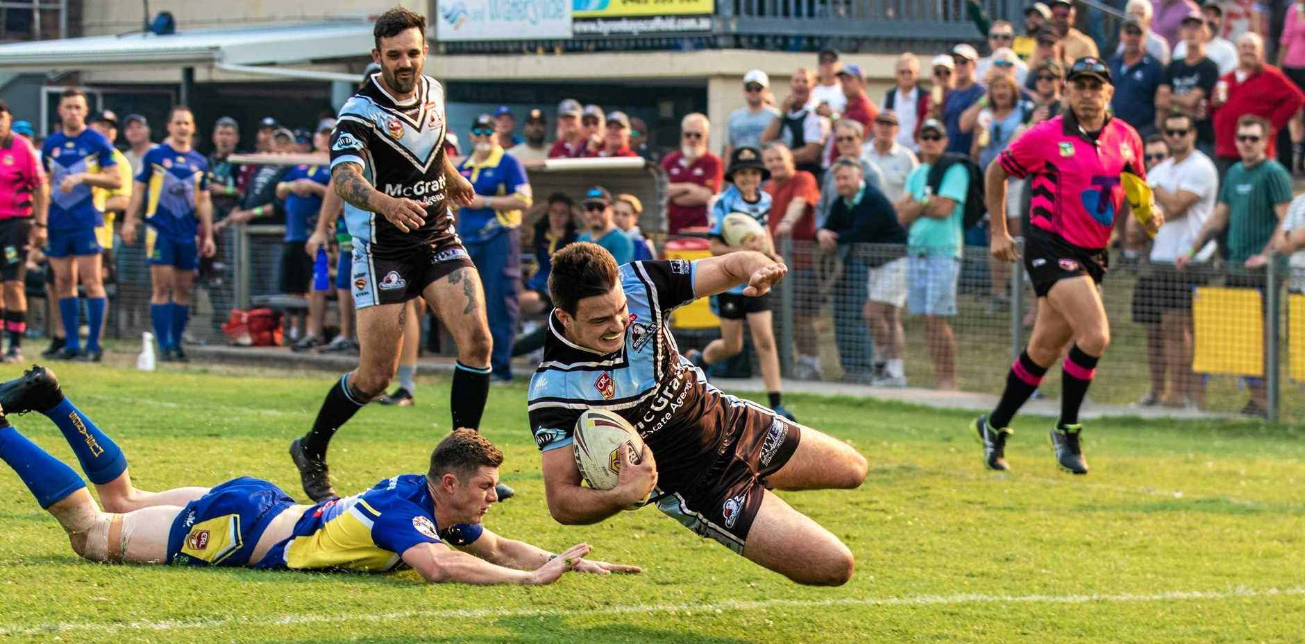 TRY TIME: Ballina centre Zac Beecher goes over for a try in the NRRRL grand final against Murwillumbah on Sunday.