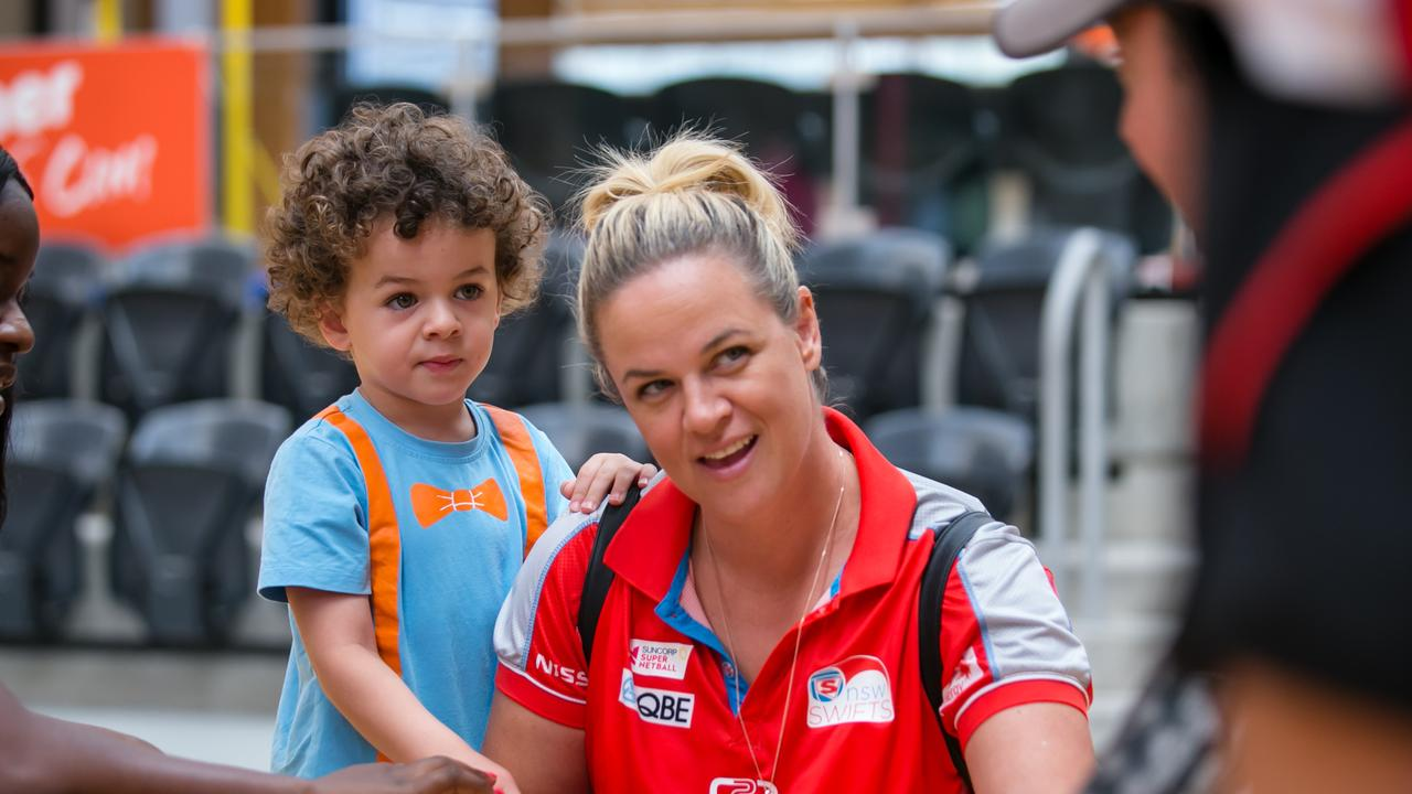 Swifts coach Briony Akle with her youngest son. Pic: Narelle Spangher.