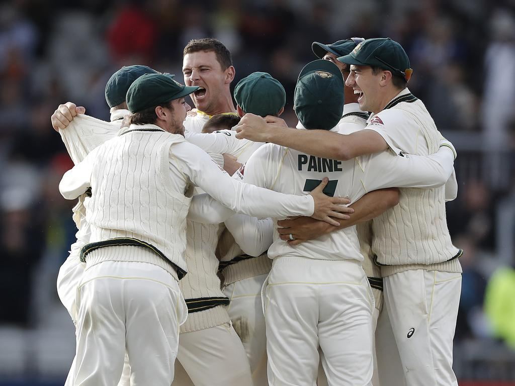 Josh Hazlewood celebrates after he claimed the final wicket. (Photo by Ryan Pierse/Getty Images)