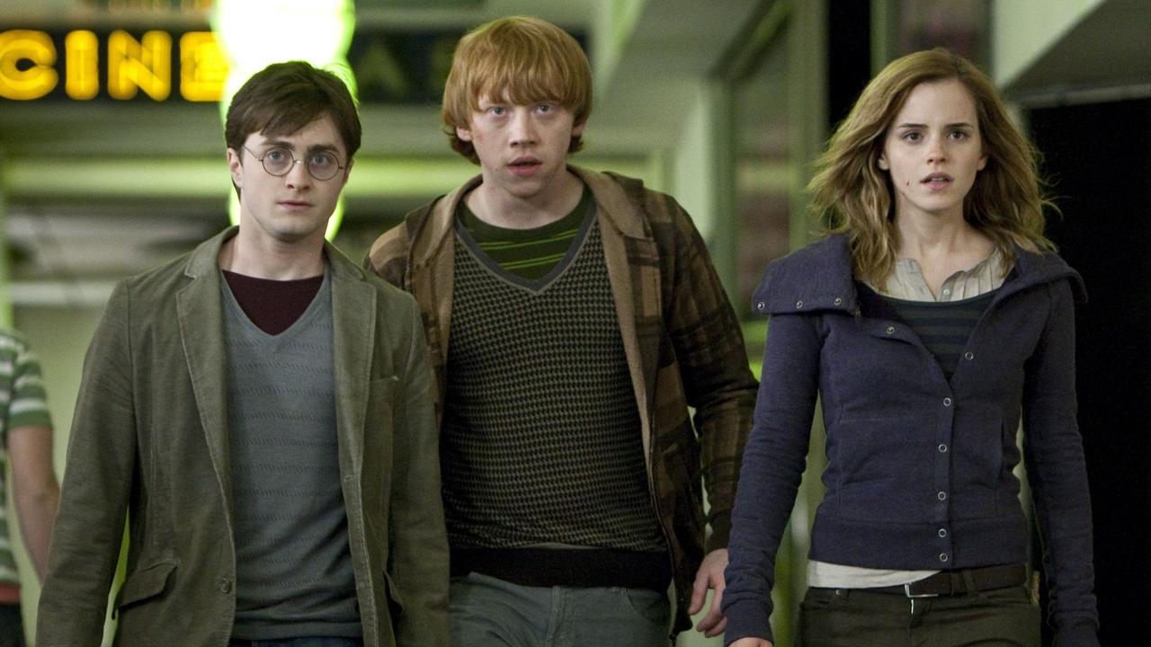 Daniel Radcliffe, Rupert Grint and Emma Watson in a scene from the 2010 film Harry Potter And The Deathly Hallows Part 1.