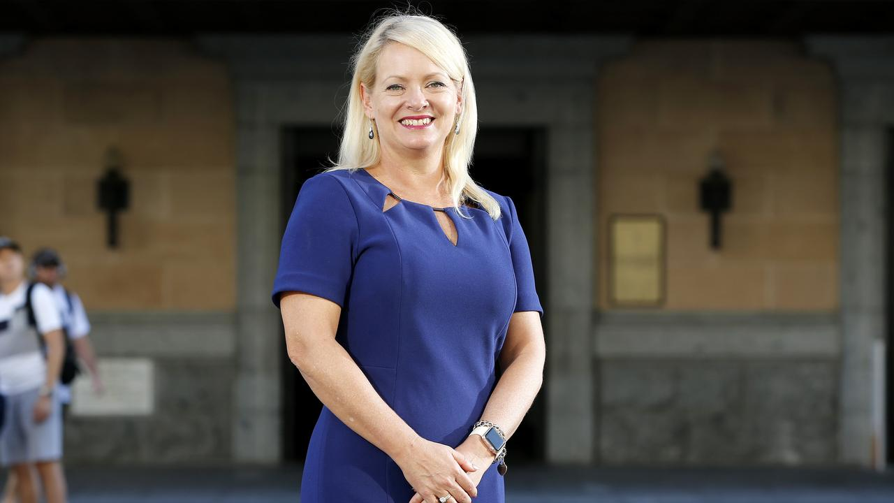 Krista Adams posing outside Brisbane City Hall, Brisbane 31st of March 2019. Krista Adams has been voted the new Deputy Mayor Elect. (AAP Image/Josh Woning)