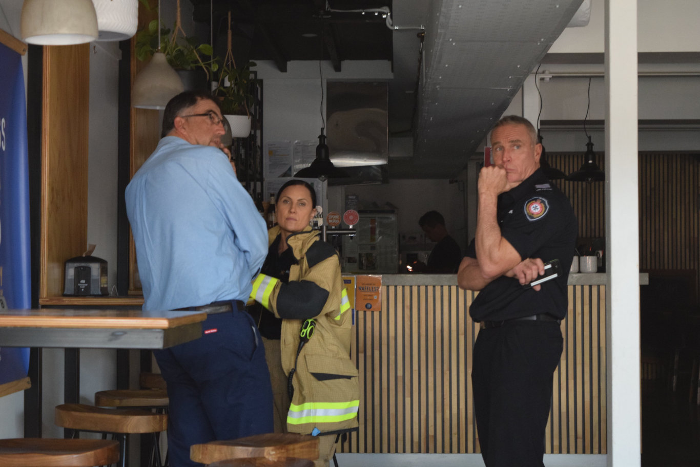 Maroochydore Station Officer Vanessa Madge and her crew responded to a gas explosion at Downtown Burgers on Ocean St, Maroochydore.