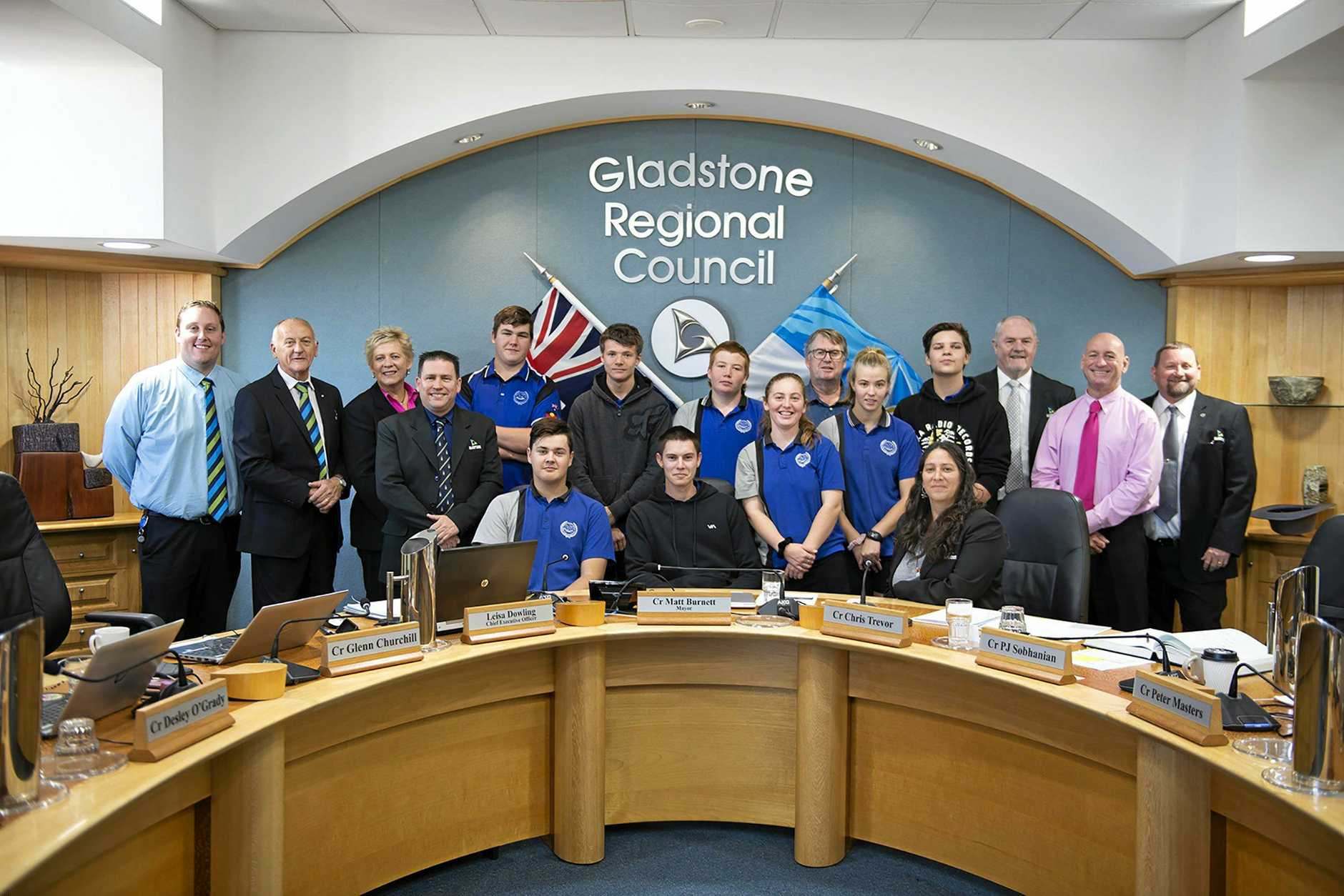COUNCIL VISIT: Miriam Vale State School students (back, from left) Jamie Marriage, Matthew Smith, Robbie Farrell, Russell Jansson (teacher), Sam Munro, (front) Jack Green, Kane Otto, Grace Dingle and Casey Robertson with Gladstone region councillors Kahn Goodluck, Glenn Churchill, Desley O'Grady, mayor Matt Burnett, Natalia Muszkat, Rick Hansen, Chris Trevor and Peter Masters at Gladstone Regional Council chambers for the September 3 meeting.