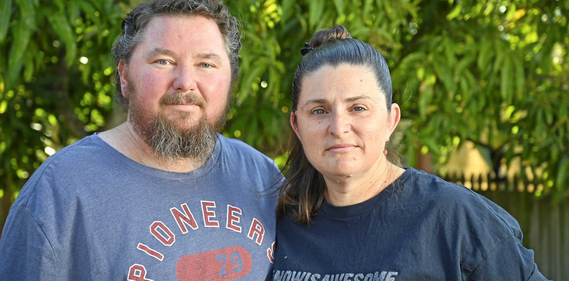 TOUGH TIME: Jamie Hewett, pictured with wife Rebecca, has multiple myeloma a blood cancer.