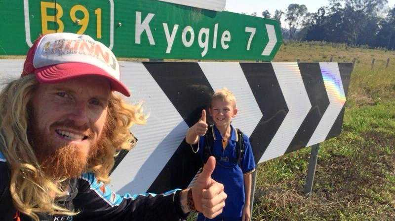TEAMWORK: Eight-year-old Carter Dowd joined Ben Ferris for a 7km run this morning.