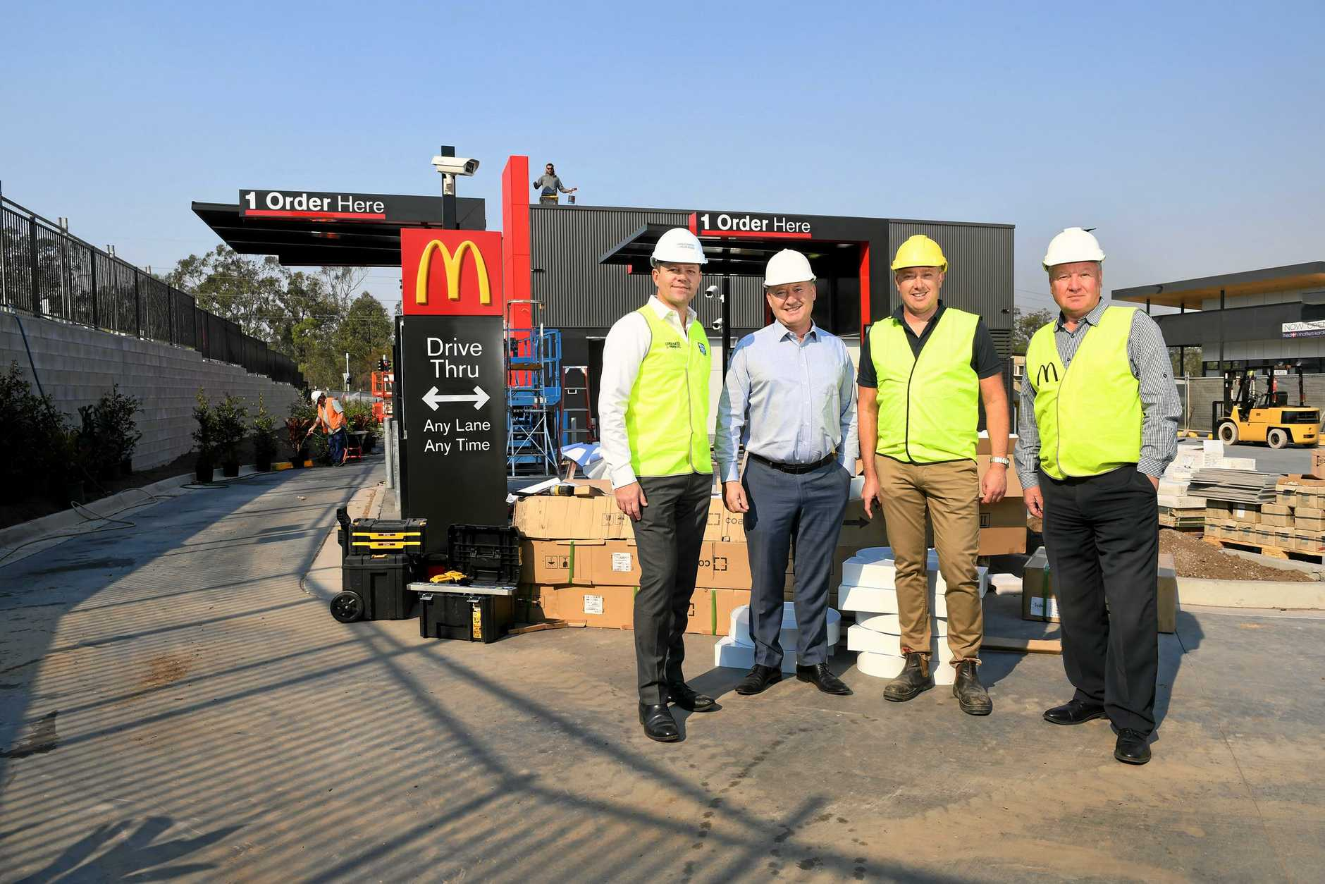 McDonald's at Karalee is set to open within the next two weeks. Consolidated Properties Group senior development manager Ben Finemore, Karalee McDonald's Licensee Mark McCormack, McDonald's Australia development manager of construction Paul Sanders and McDonald's Australia development manager Chris Hollis.