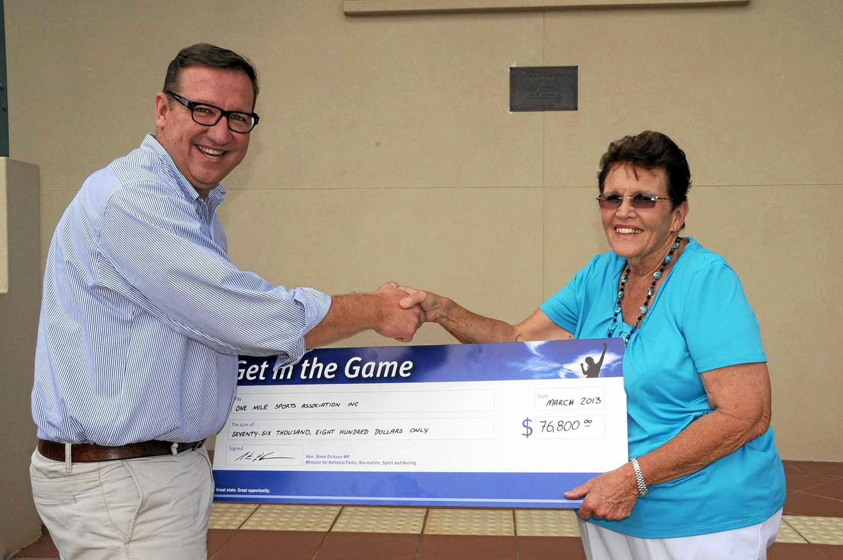 Get in the Game cheque presentation.  Member for Gibson and Pam Tindall Secretary of One Mile Sports Association.  The $76,800 will go towards installing lights at Jim Geiger Oval. Photo Tanya Easterby / The Gympie Times