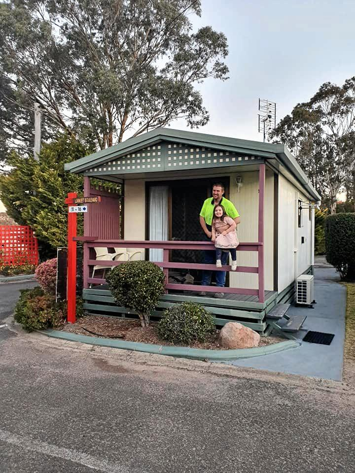 WHAT A RELIEF: Jason Rogers and his daughter Natalie Rogers are able to continue their relief efforts in Stanthorpe thanks to cabin donated by Top of the Town.