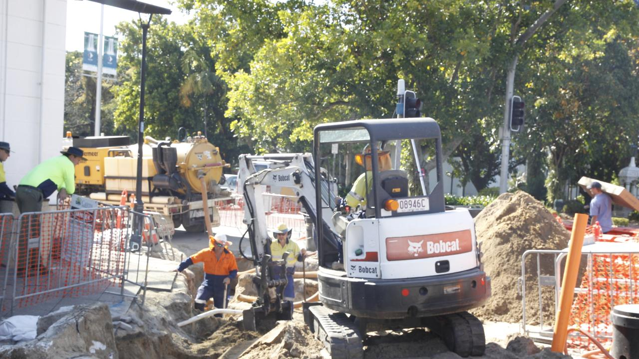Road work underway at the corner of Spence and Abbott Sts in the Cairns CBD. Picture: PETER CARRUTHERS