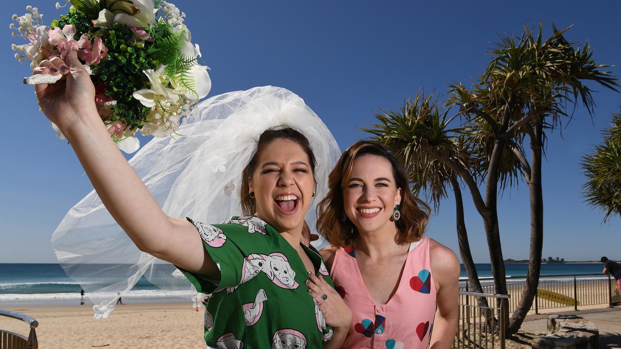 Muriel's Wedding the Musical stars Natalie Abbott (Muriel) and Stefanie Jones (Rhonda) are happy to be in sunny Queensland for the show's Brisbane season, which starts next week.