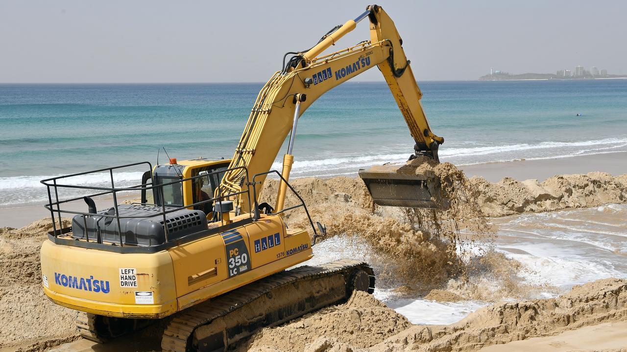 Earthworks at Maroochydore beach. Photo Patrick Woods / Sunshine Coast Daily.