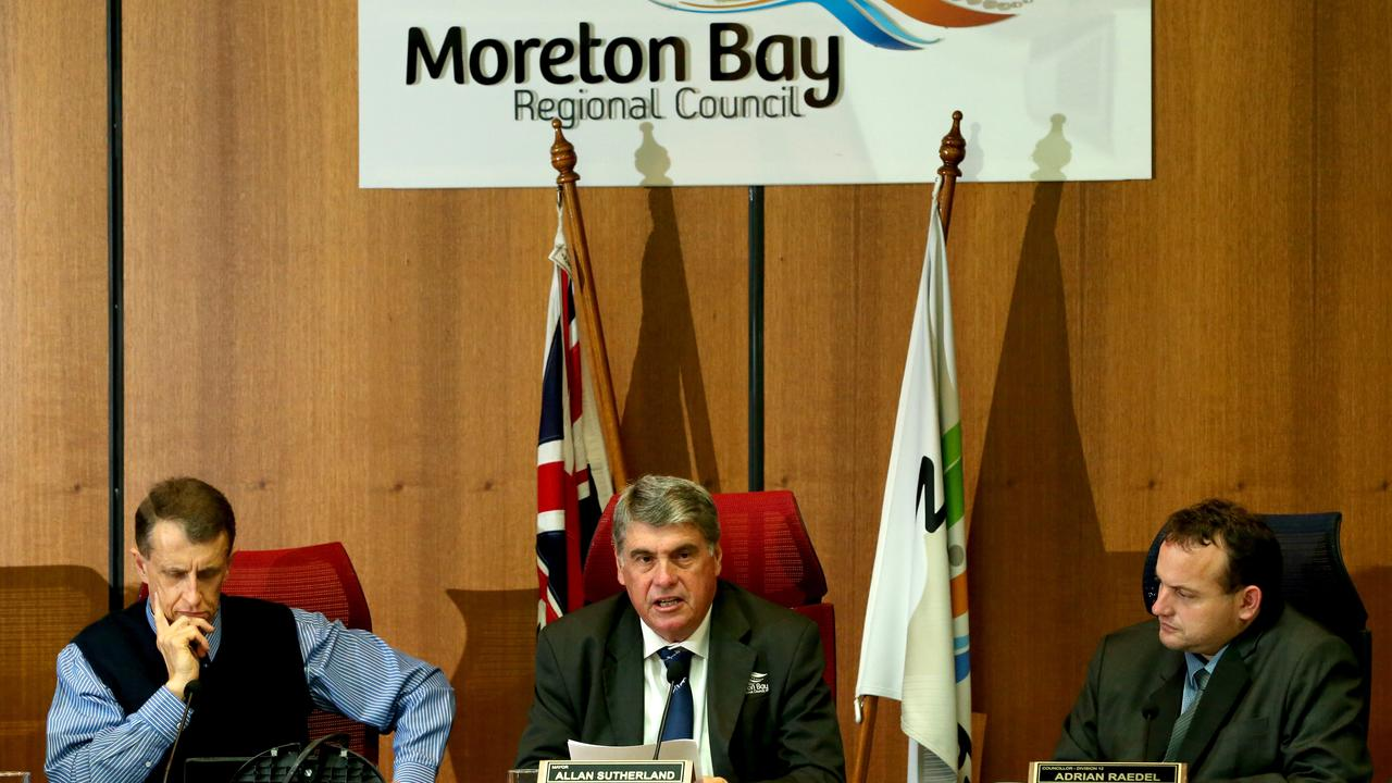 Outgoing council CEO Daryl Hitzman with outgoing mayor Allan Sutherland and suspended councillor Adrian Raedel in the council chamber in 2016. Picture: Richard Walker