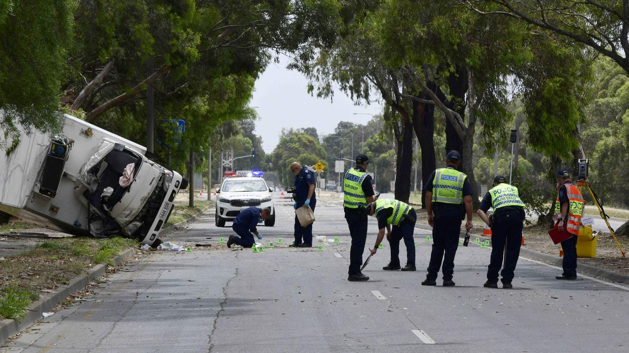 The scene of the truck crash, which killed Jatinder Brar, at Salisbury South. Picture: Bianca De Marchi