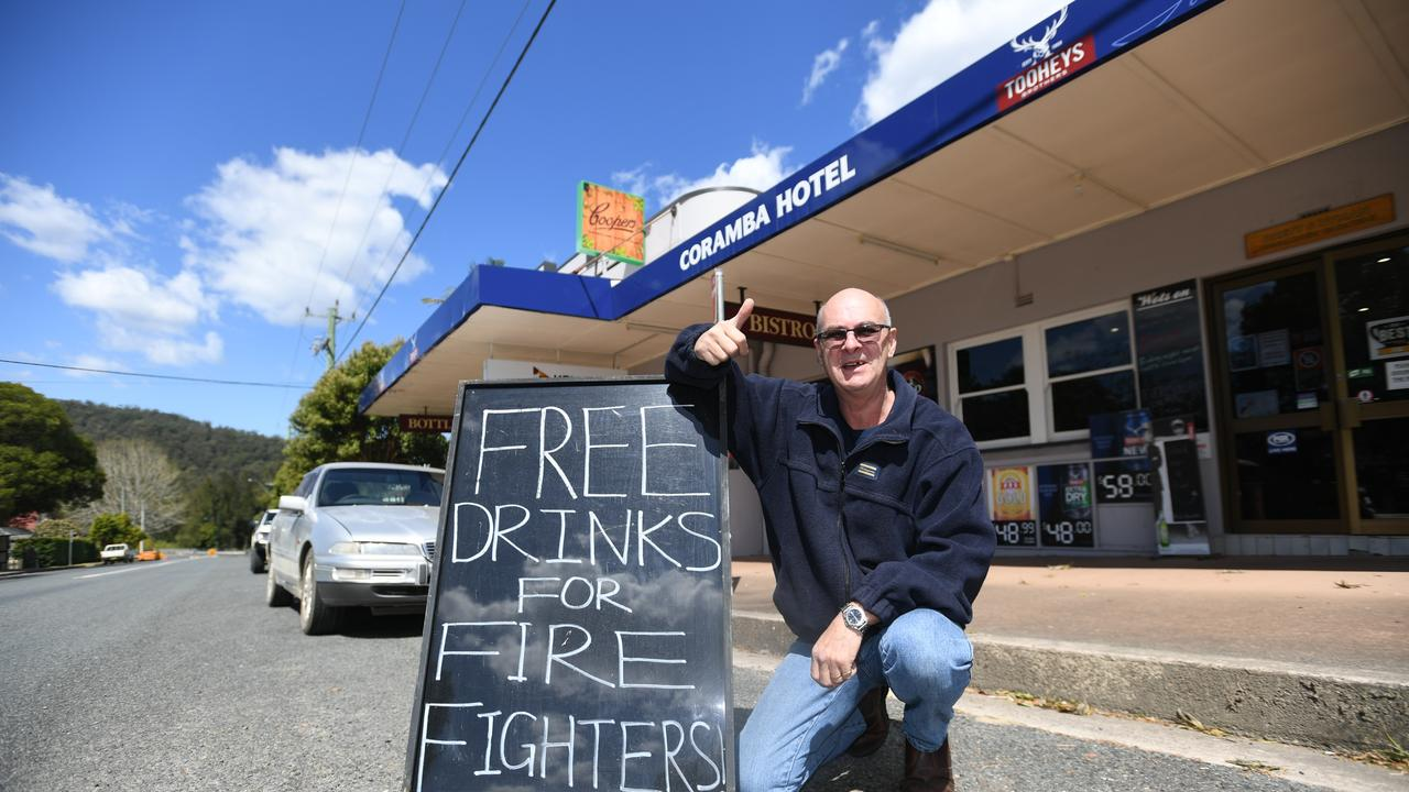 In true Aussie style Brett Ryman, from the Corambah Pub, is doing his bit to say thank you to the hundreds of volunteer firefighters battling blazes across the State.