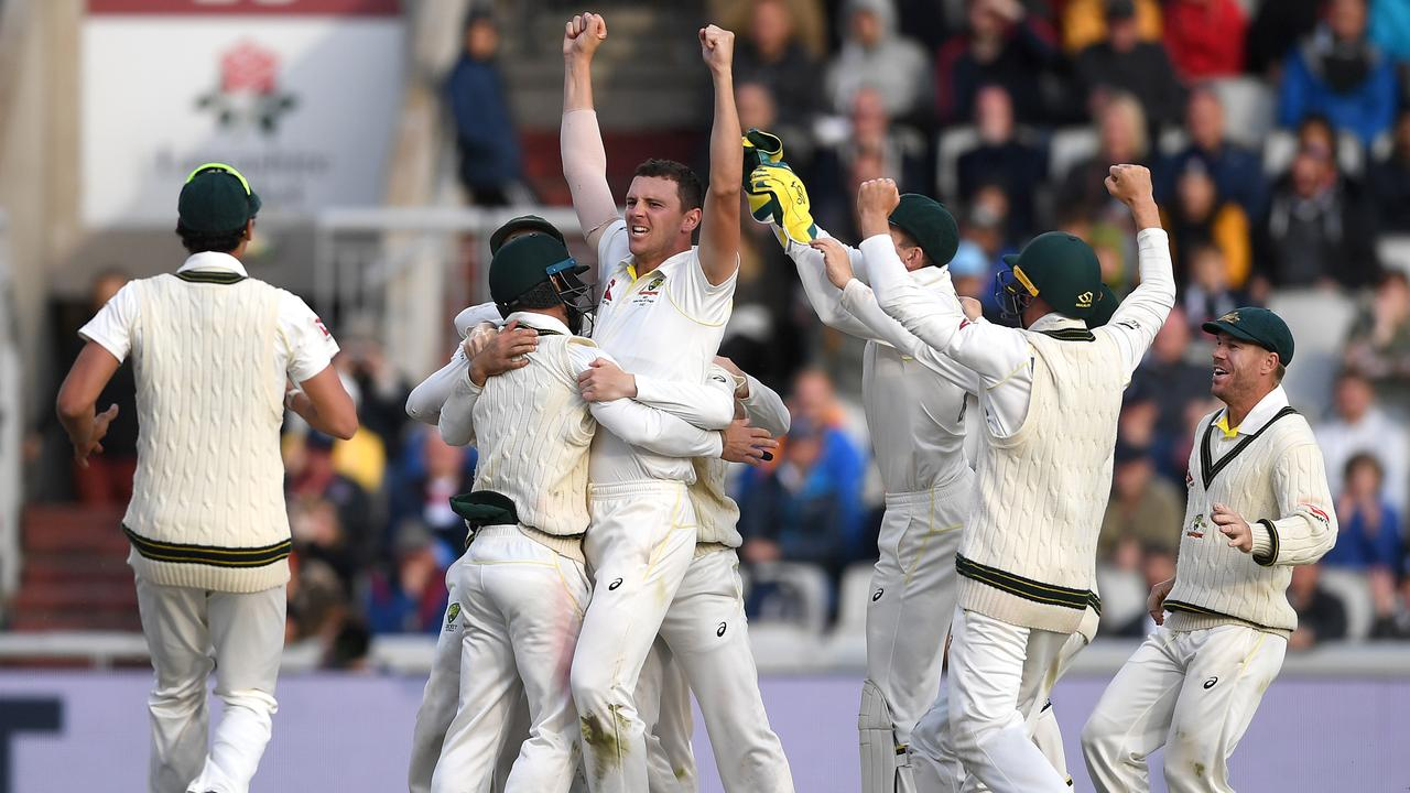 Josh Hazlewood secured the final wicket in the fourth Test at Old Trafford. Picture: Getty Images