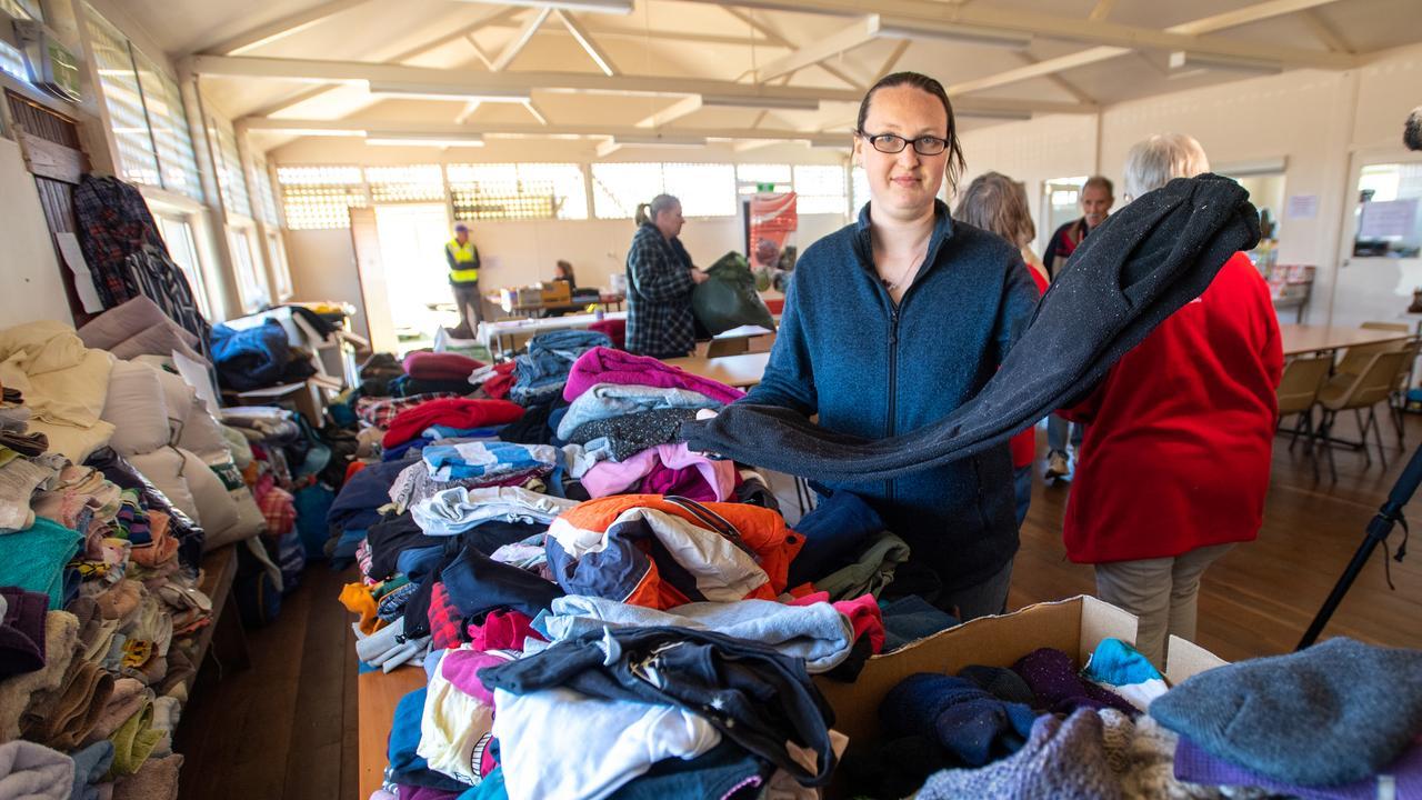 Kymbalee Tarran at the Dorrigo Showground evacuation centre.