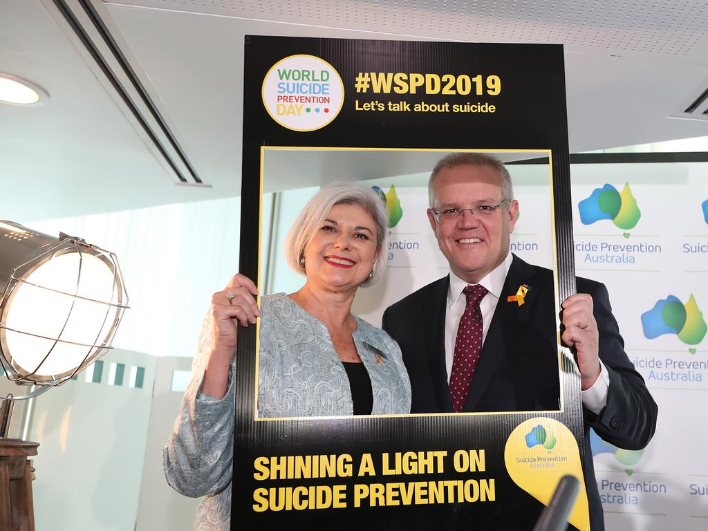 Nieves Murray CEO of Suicide Prevention Australia and PM Scott Morrison speaking at a World Suicide Prevention Day Breakfast 2019 at Parliament House, Canberra. Picture Kym Smith