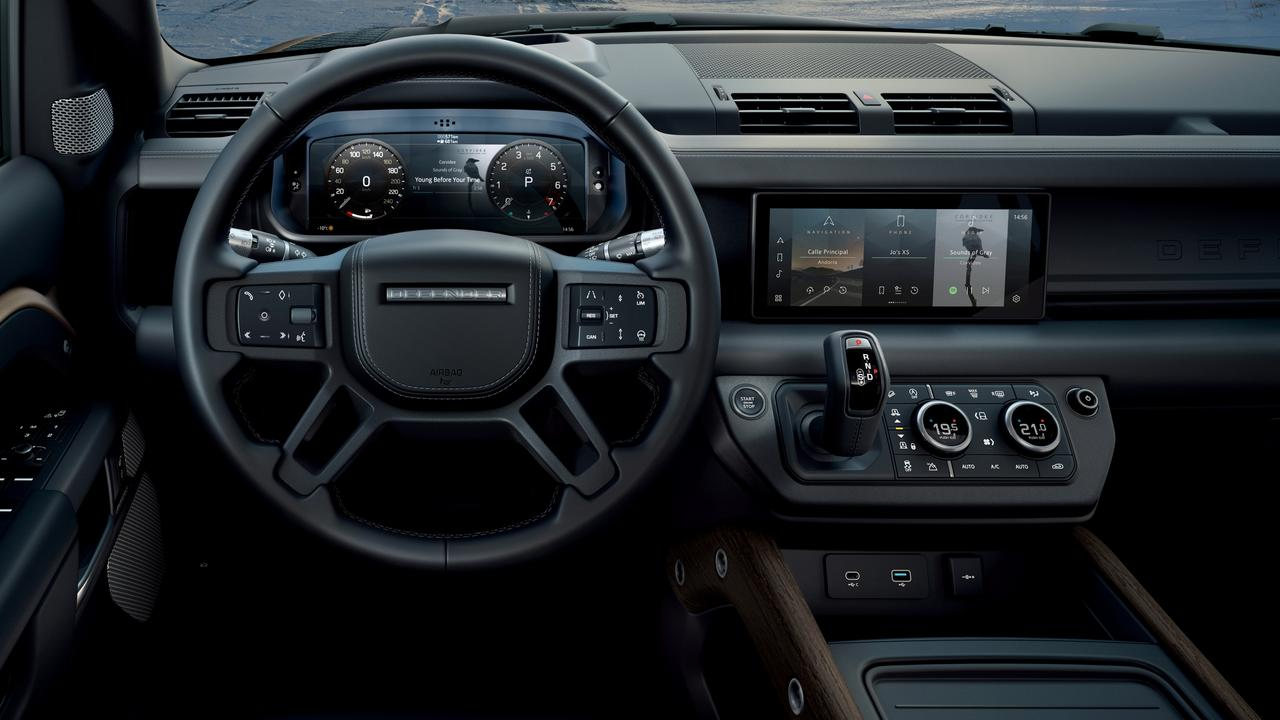 The Defender brings proper luxury features such as the two digital screens.