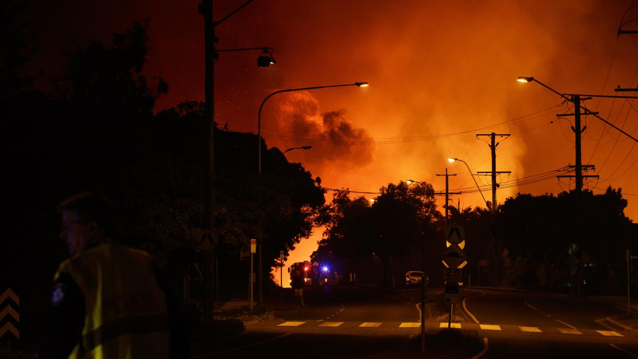 Smoke fills the air near Peregian Beach. Picture: Lachie Millard