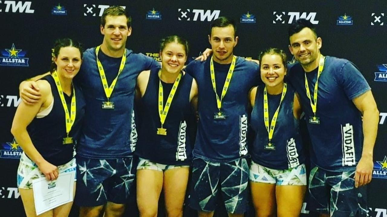 VidaFit Black (from left) Jacinda Lawrence, Alex Budrodeen, Tai Gwynne, Rhyce Philp, Bec Lennon and Dan Withers finished third in the advanced division.