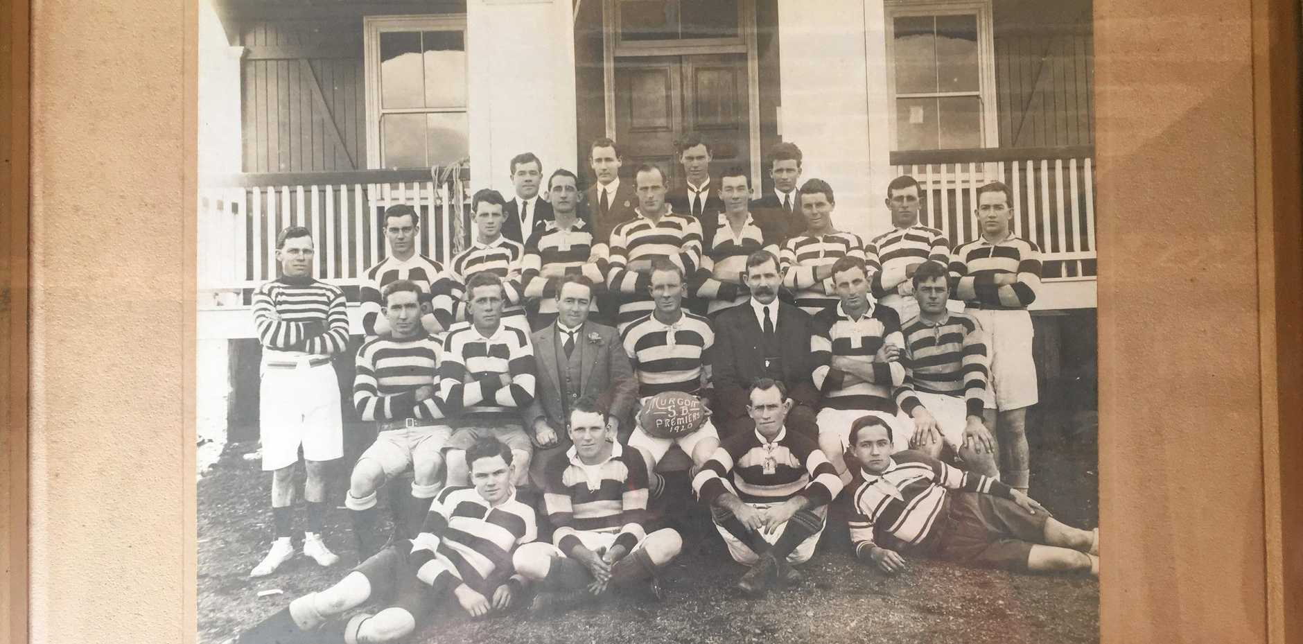 A historic photo donated by the Otto family of the Murgon team who won the first premiership of the South Burnett Rugby League Competition in 1920.
