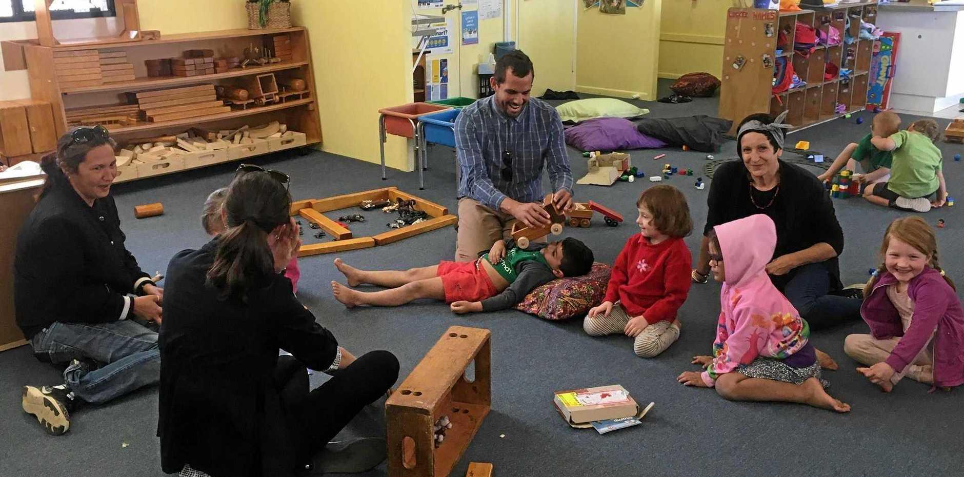 PLAY TIME: Eidsvold State School principal Preston Parter enjoying a playdate at Eidsvold Kindergarten.